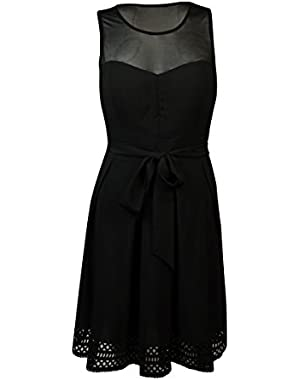 Guess Women's 'Karol' Belted Illusion A-Line Dress