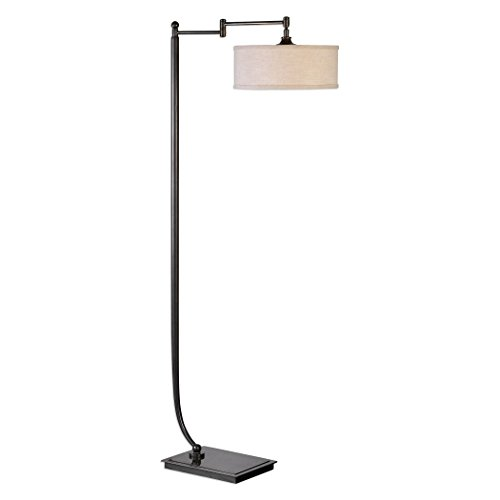 Adjustable Contemporary Curving Bronze Metal Floor Lamp | Art Deco Style Drum Shade Brown Iron Pedestal Based Light