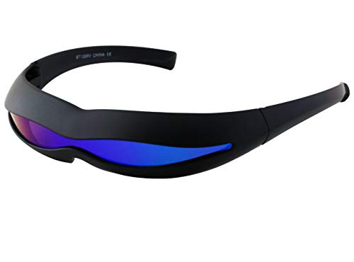 147 Sunglasses - Futuristic Space Alien Costume Party Cyclops Shield Colored Mirror Mono Lens Wrap Sunglasses 147mm (Black and Blue Mirror 2, 147)