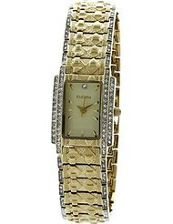 Elgin Gold Watch - Elgin Ladies Watch #EGC2002 All Gold Tone With Crystals 20MM In Nude Color Dial