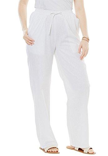 - Women's Plus Size Tall Linen-Blend Drawstring Pants