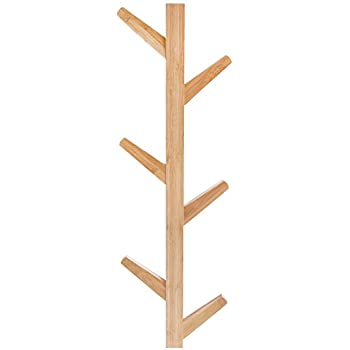 Amazon 40Hook Wall Mounted Natural Bamboo Wood Tree Branch Fascinating Wall Mounted Coat Rack