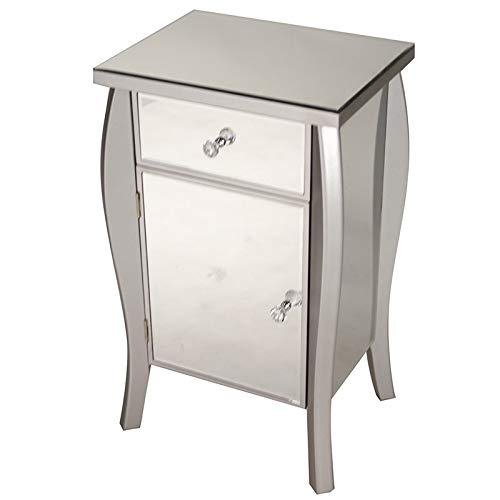 s Bombe Style Single Drawer Accent Cabinet/Console with Full Mirrored Finish, 30.5