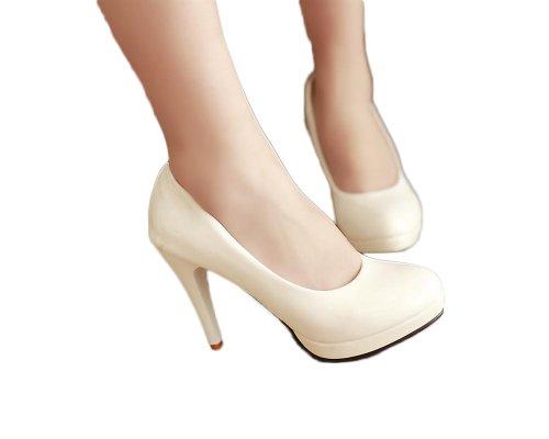 Bedel Voet Basic Klassiek Plateau Hoge Hak Stiletto Mary Jane Pump White