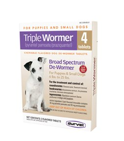Durvet/pet D-Triple Wormer Chewable Dog Dewormer Tablets 6-25 Lb/4 Pk