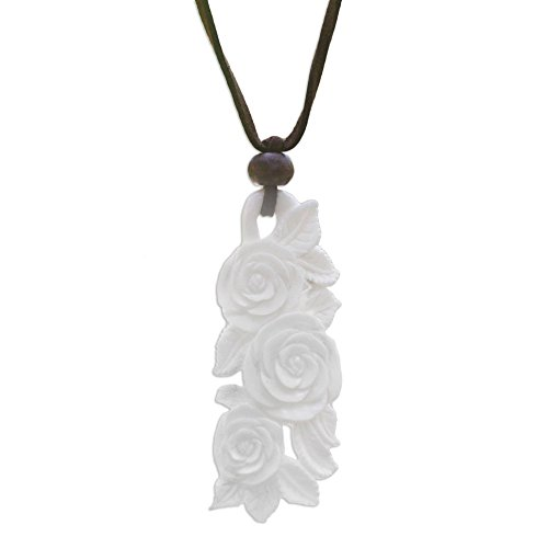 NOVICA Hand Carved Cow Bone Flower Pendant Necklace on Faux Suede Cord, Rose Bouquet', - Pendant Rose Flower Carved