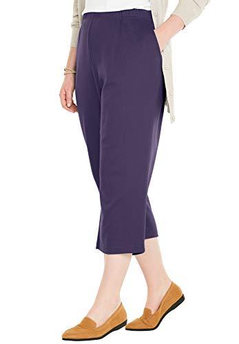 Woman Within Women's Plus Size Petite 7-Day Knit Capri - Midnight Plum, M