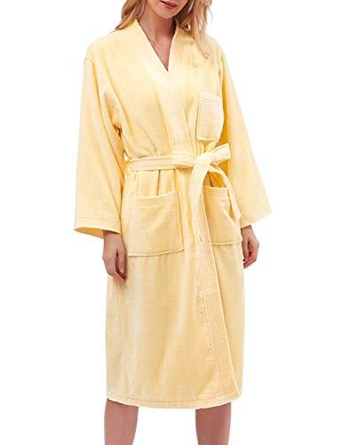 Find Dress 10040 Robe Pakistan Cotton Soft Water Absorption Bathrobe L Yellow