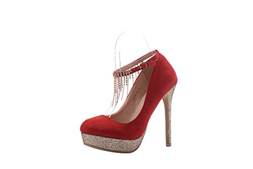 Embellished Platform - Mila Lady ELVA08 Women Fashion Embellished Sparkles Party Pumps High Heel Stilettos Sexy Rhinstone Ankle StrapDress Shoes, RED7