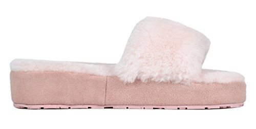 Sheepskin Fluffy 01 Slippers Mules Women's Pink Fur DREAM PAIRS BLIZ Comfy qgPT7W6nF