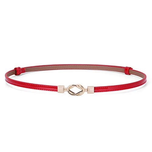(Women Vintage Skinny Leather Belt for Dress/Blouse, Adjustable Waistband fit 23-40inch (01 Red))