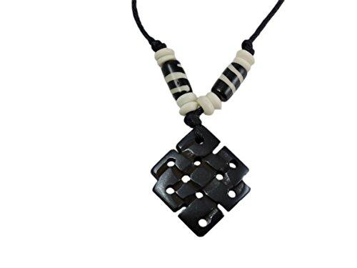 Tibetan Eternal Knot Yak Bone Pendant Necklace