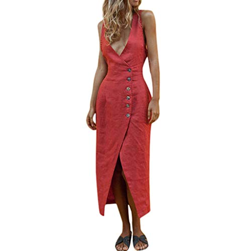 Jessica Linen Blazer - TIANMI Women Solid Sleeveless O-Neck Maxi Buttons Cotton Loose Baggy Kaftan Long Dress(Red,L)