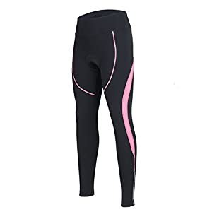 spoear Women's Cycling Pants 3D Padded Compression Tight, Long Bike Bicycle Pants With Wide Waistband(Orchid Pink,M)