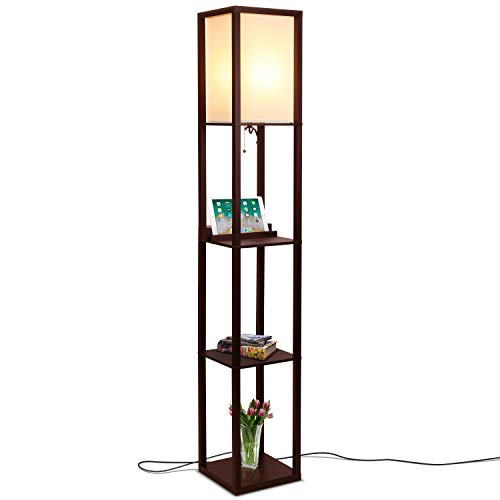 Brightech Maxwell Wireless Stealth Charging - LED Shelf Floor Lamp for Living Rooms & Bedrooms - Wireless Charging, USB Ports & Electric Outlet - Modern Standing Light- Asian Display Shelves- Brown
