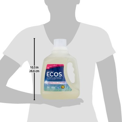 PACK OF 5 - ECOS 2X Ultra Liquid Laundry Detergent, Fresh Geranium, 100 Oz, 100 Loads
