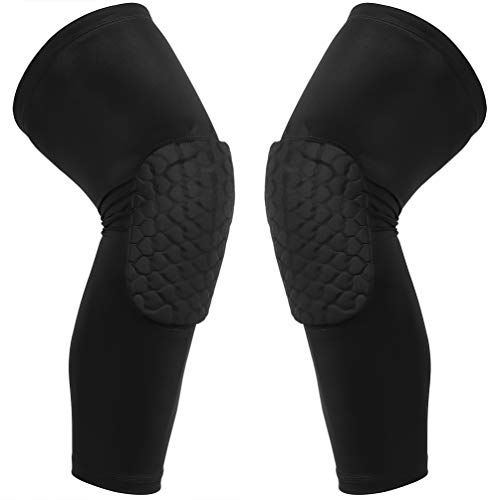 Cantop Youth Knee Pads Leg Sleeves for Kids Men Women Kids Boys Girls Hex Compression Collision Avoidance for Volleyball Basketball Football (Knee Pads-Black, Large)