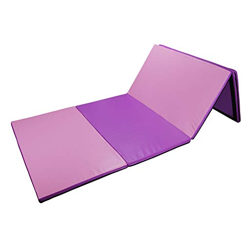 Polar Aurora VD-36158SP 4'x10'x2 Multiple Colors Thick Folding Gymnastics Gym Exercise Aerobics Mats Stretching Fitness Yoga (Pink & Purple), Pink/Purple