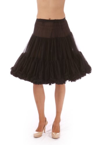 Malco Modes Luxury Vintage Knee-Length Crinoline Petticoat Skirt Pettiskirt, Adult Tutu for Rockabilly 50s Square Dance or Lolita Dress; Plus Size Petticoat Available Black -