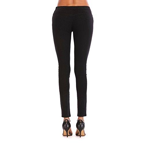 Alta Stirata Piedi Della Sexy Pantaloni Lampo Chiusura Black Grossartig Dei Di Moda Jeans Laterale Matita ZaFwAqH