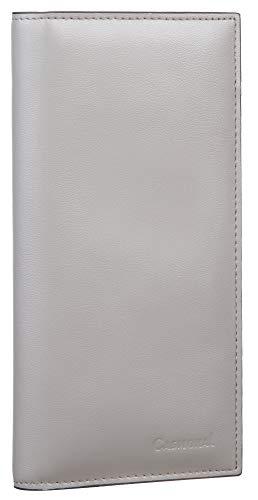 Casmonal Genuine Leather Checkbook Cover For Men & Women Checkbook Holder Wallet RFID Blocking(grey)