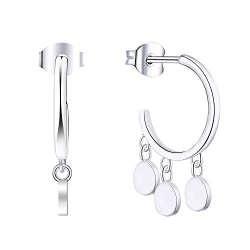 Silver Shaped Coin (YL Women's J Hoop Earrings Sterling Silver Dangle Three Coin Earring 18K White Gold Plated Jewelry)