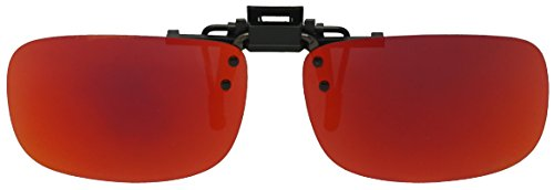 Light Weight Polarized Clip On Square Flip Up Mirrored Glare Blocking Colored Lenses Sunglasses (Fire Red, - Kids Sunglases