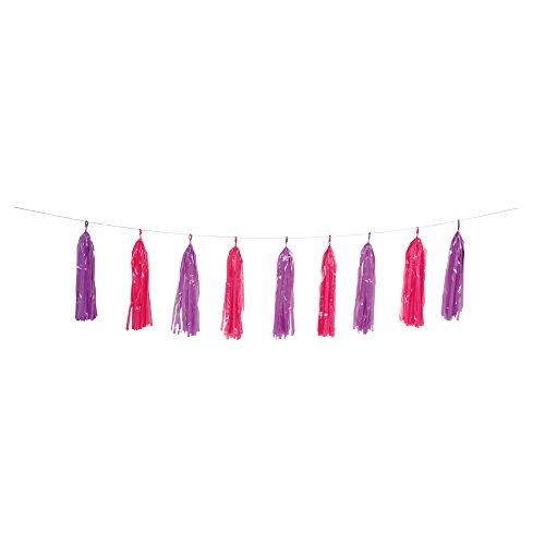 plastic purple pink tassel garland