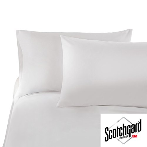 HONEYMOON HOME FASHIONS Queen White 3M Scotchgard Bed Sheet Set