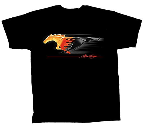 Muscle Mustang T-shirt - Ford Mustang T-shirt Flaming Pony Muscle X-Large