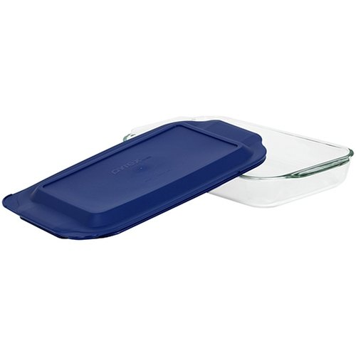 Pyrex Bakeware 9-by-13-Inch Rectangular Baking Dish, Clear with Blue Lid