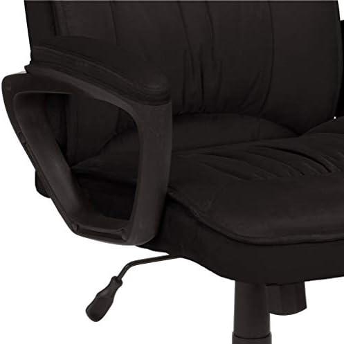 AmazonBasics Classic Office Desk Computer Chair - Adjustable, Swiveling, Ultra-Soft Microfiber - Black, Lumbar Support