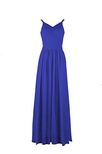 YiYaDawn–Vestido de gasa de dama largo vestido de noche Azul