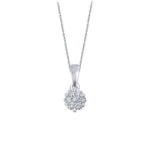 La Joya 1/10ct Round White Natural Diamond 10K White Gold 7 Stone Diamond Flower Pendant Necklace for Teens Womens ()