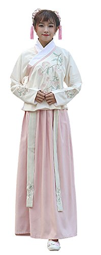 Plaid&Plain Women's Retro Swing Dress Hanfu Embroidered Chinese Traditonal Dress ShallowApricot S - Chinese Fancy Dress Ideas