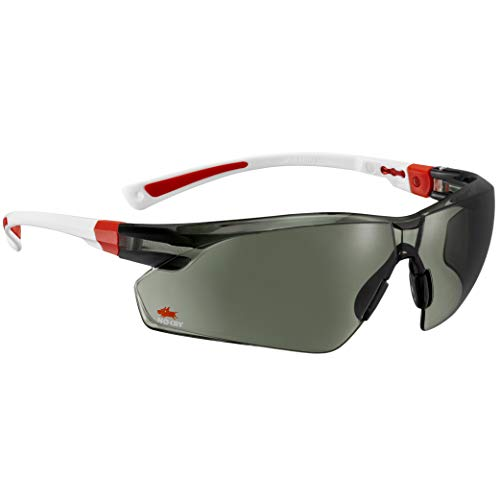 NoCry Work & Sports Safety Sunglasses - with Green Tinted Anti Scratch Wrap-Around Lenses, Non-Slip Grips, UV 400 Protection, Adjustable Fit, White & Red Frames (Lentes De Sol)