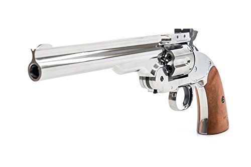 Bear River Schofield No. 3 Revolver - .177 Full Metal Airgun Pistol - CO2 BB Gun Shoot BB or Pellet Ammo Nickel Finish