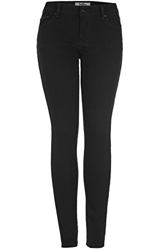 2LUV Women's Classic Stretchy 5 Pocket Skinny Color Jeans Black ()