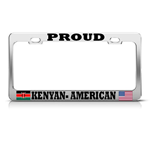 (Proud Kenyan American Flags Chrome Metal License Plate Frame AUTO SUV Tag Border Perfect for Men Women Car garadge Decor)