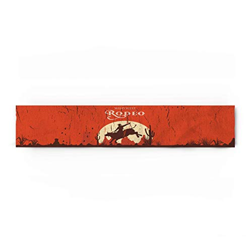 Vintage Cotton Linen Table Runner Rectangle Plate Mat Outdoor Rug Runner for Coffee Dining Banquet Home Decor, Rodeo Cowboy Riding Bull Wooden Old Sign Western Wilderness at Sunset Image, 13 x 70 inch