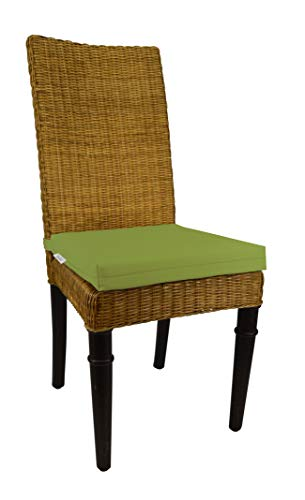 RSH Décor Indoor Outdoor Soho Rattan Wicker Banana Leaf Seagrass Parson Chair Trapezoid Foam Seat Cushion w/Strap - Made from Sunbrella Canvas Macaw (14