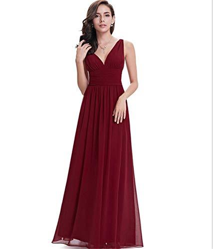En De Vestido Fiesta Sección Rojo Profundo Noche u Gasa Larga Slim Escote Elegante V Fit Sexy Cena Cintura Lucky qRw4FWvnw