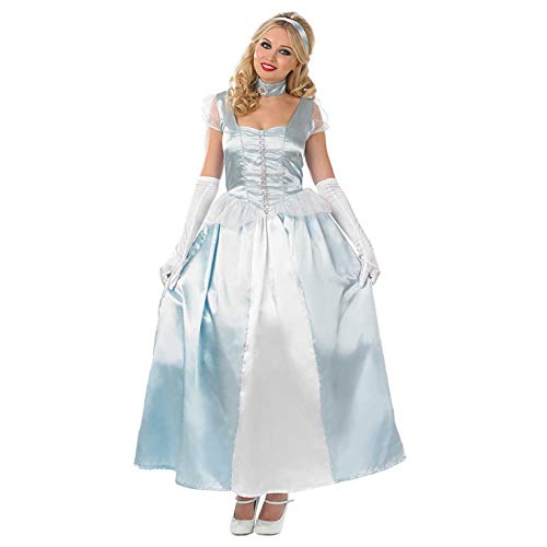 fun shack Womens Princess Costume Royal Blue Fairytale Queen Gown Dress - -