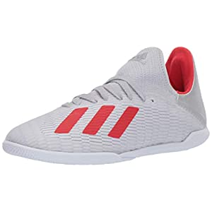 adidas Unisex X 19.3 Indoor Soccer Shoe, Silver Metallic/hi-res red/White, 3 M US Little Kid