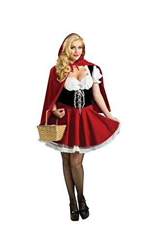 Moncey 2017 Sexy Womens Fairy Tale Little Red Riding Hood Costume For Halloween Cosplay Uniforms Plus Size S-4XL (XL)