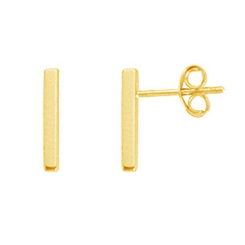 14k Contemporary Earrings (14k Solid Yellow Gold Staple Bar Stud I Earrings 1.5x11 Mm)