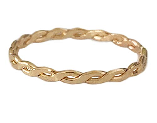 Toe Ring | 14K Gold Fill Twisted Braid | Fitted Ring for Foot Or Knuckle Midi for Women, Girls, Or Men (5) 14k Twisted Toe Ring