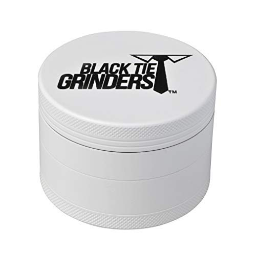 Black Tie Grinder - 2.5 Inch Herb Grinder, The Best Rated Herb Grinder with Carry Bag, 4-piece Anodized Aluminum (White Out) (Black Grinder Tie)