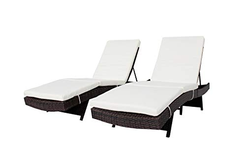 Jetime 2Pcs Outdoor Brown Rattan Lounge Chair Woven Wicker Portable Chaise Couch Furniture Ajustable Sunbed Garden Couch Cushion with Beige Cushion Review