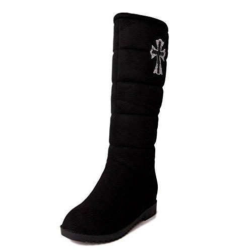 VogueZone009 Damen Mittler Absatz Rein Mattglasbirne Ziehen auf Stiefel, Schwarz, 38
